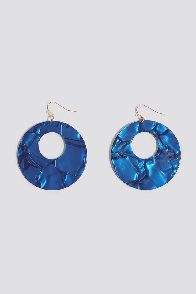 Round Hanging Resin Earrings Dark Blue