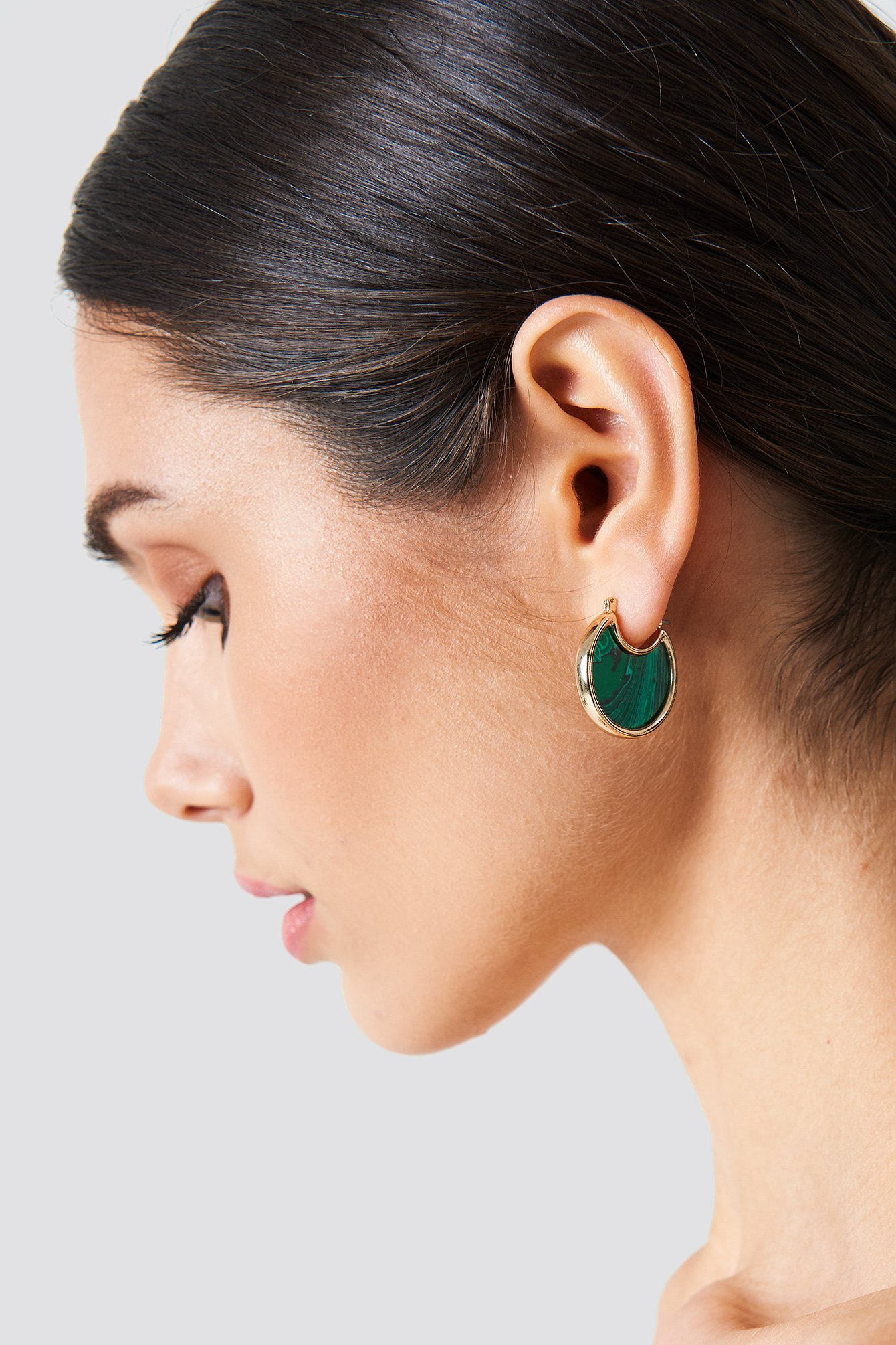 Round Malachite Look Earrings NA-KD.COM