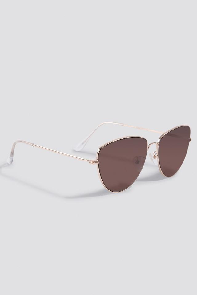 Round Metal Cat Eye Sunglasses Dark Red