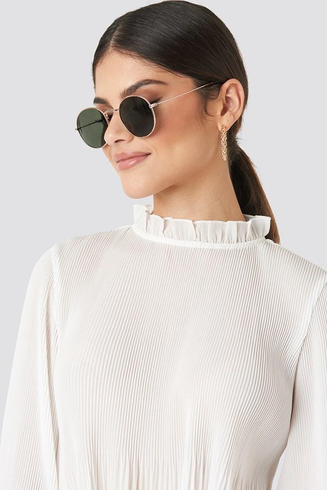 Round Metal Frame Sunglasses Dark Green