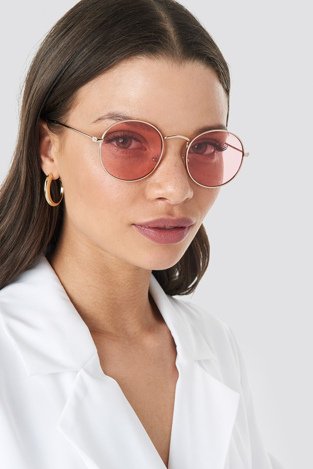 Round Metal Frame Sunglasses Light Pink