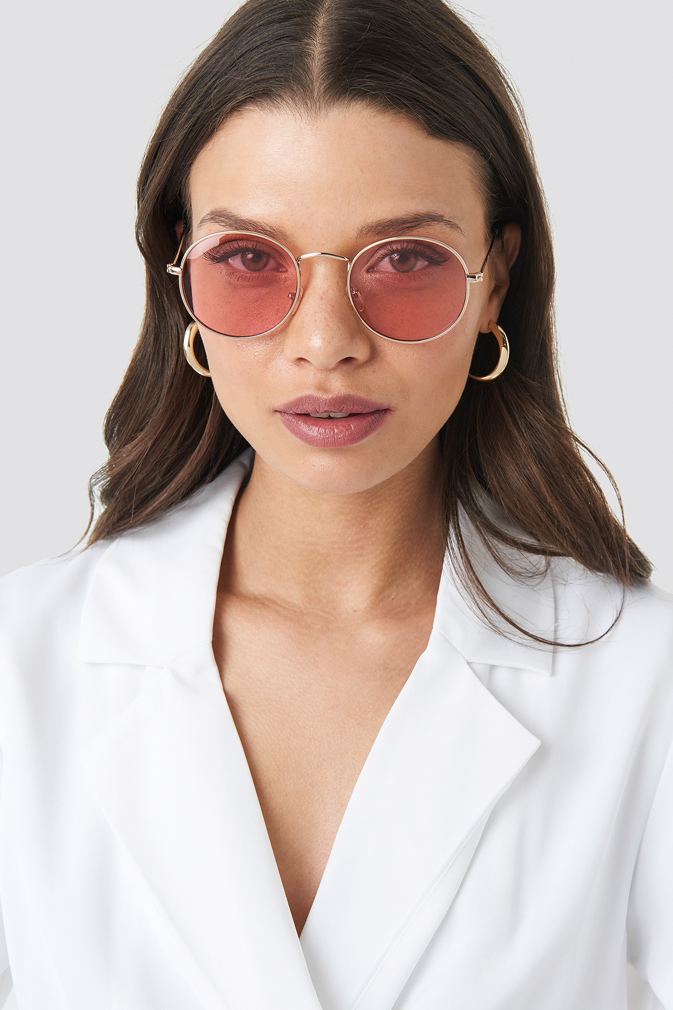 Light Pink Round Metal Frame Sunglasses
