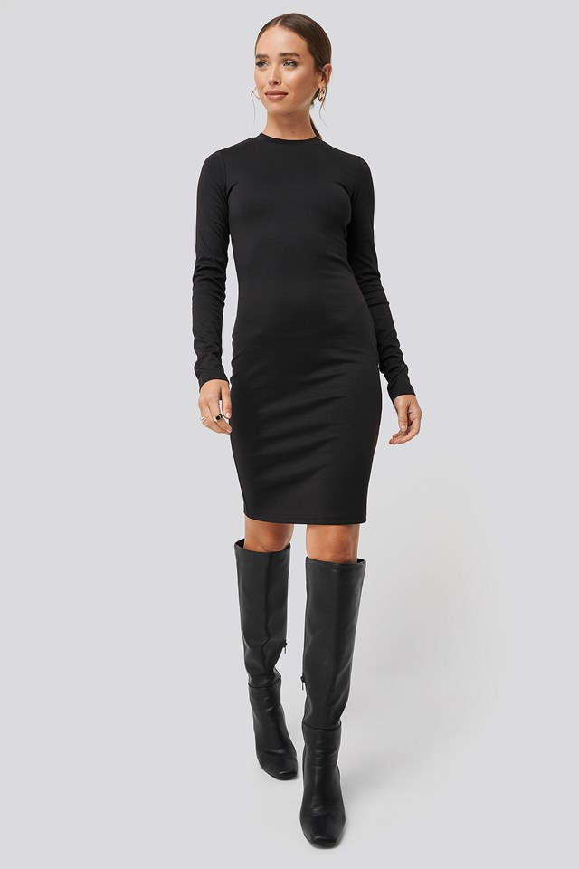 Round Neck Bodycon Dress Black