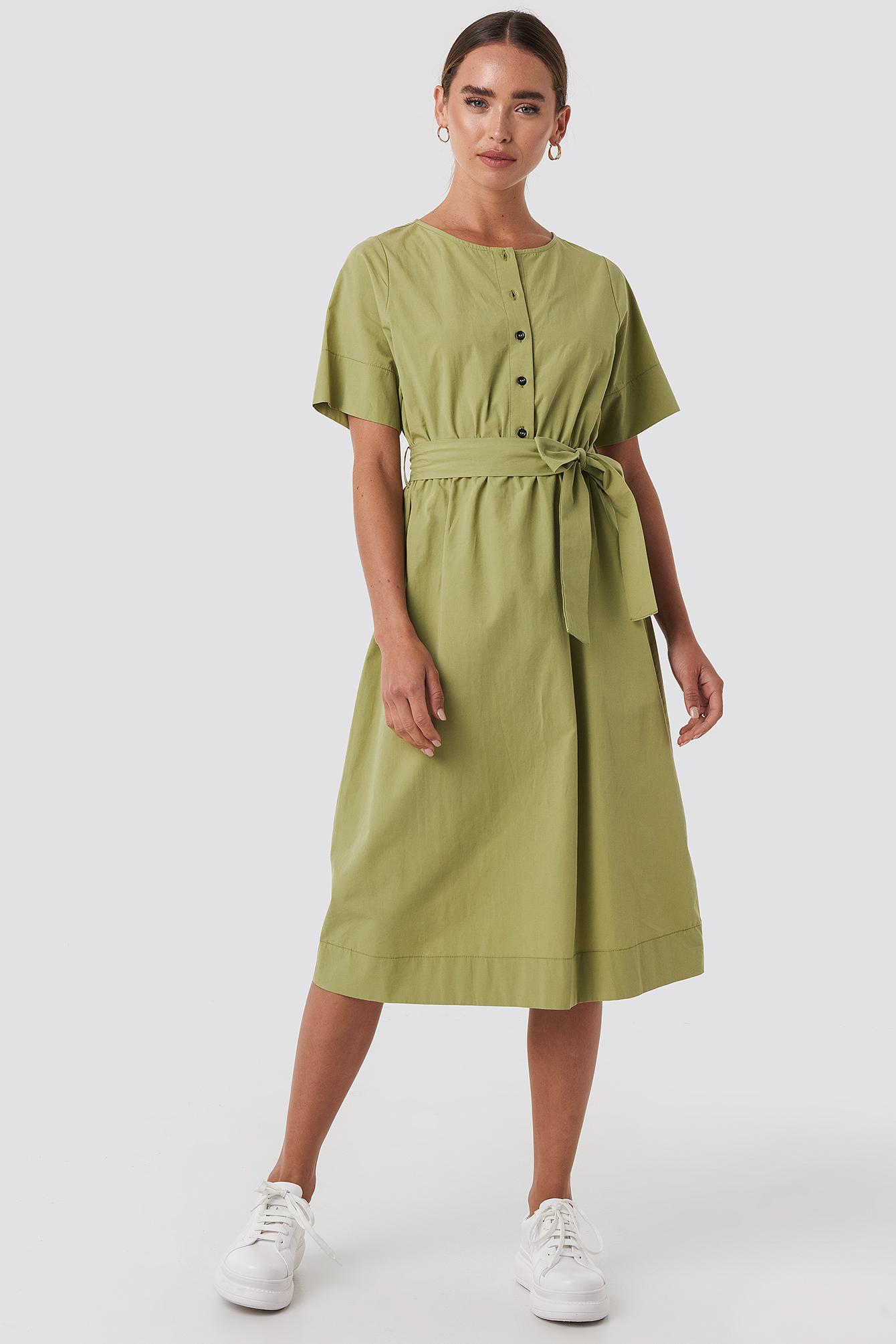 NA-KD Round Neck Button Up Midi Dress - Green