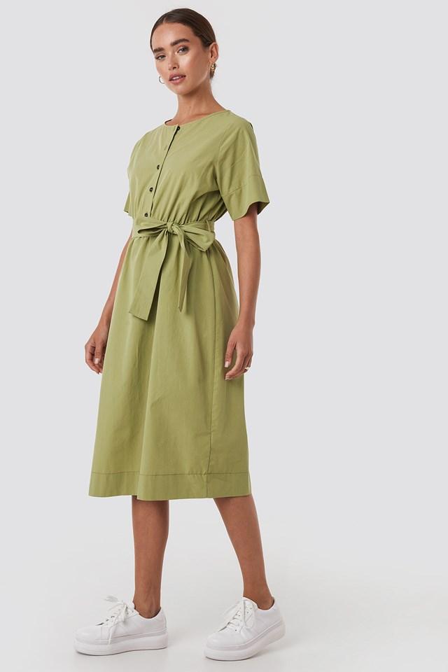 Round Neck Button Up Midi Dress Green