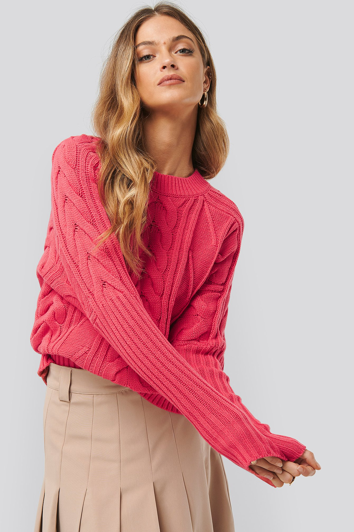na-kd -  Round Neck Cable Knitted Sweater - Pink