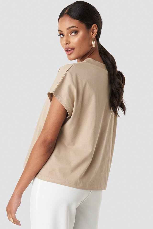 Round Neck Cap Sleeve T-Shirt Beige
