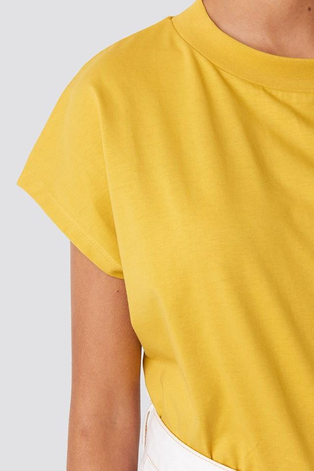 Round Neck Cap Sleeve T-Shirt Mustard
