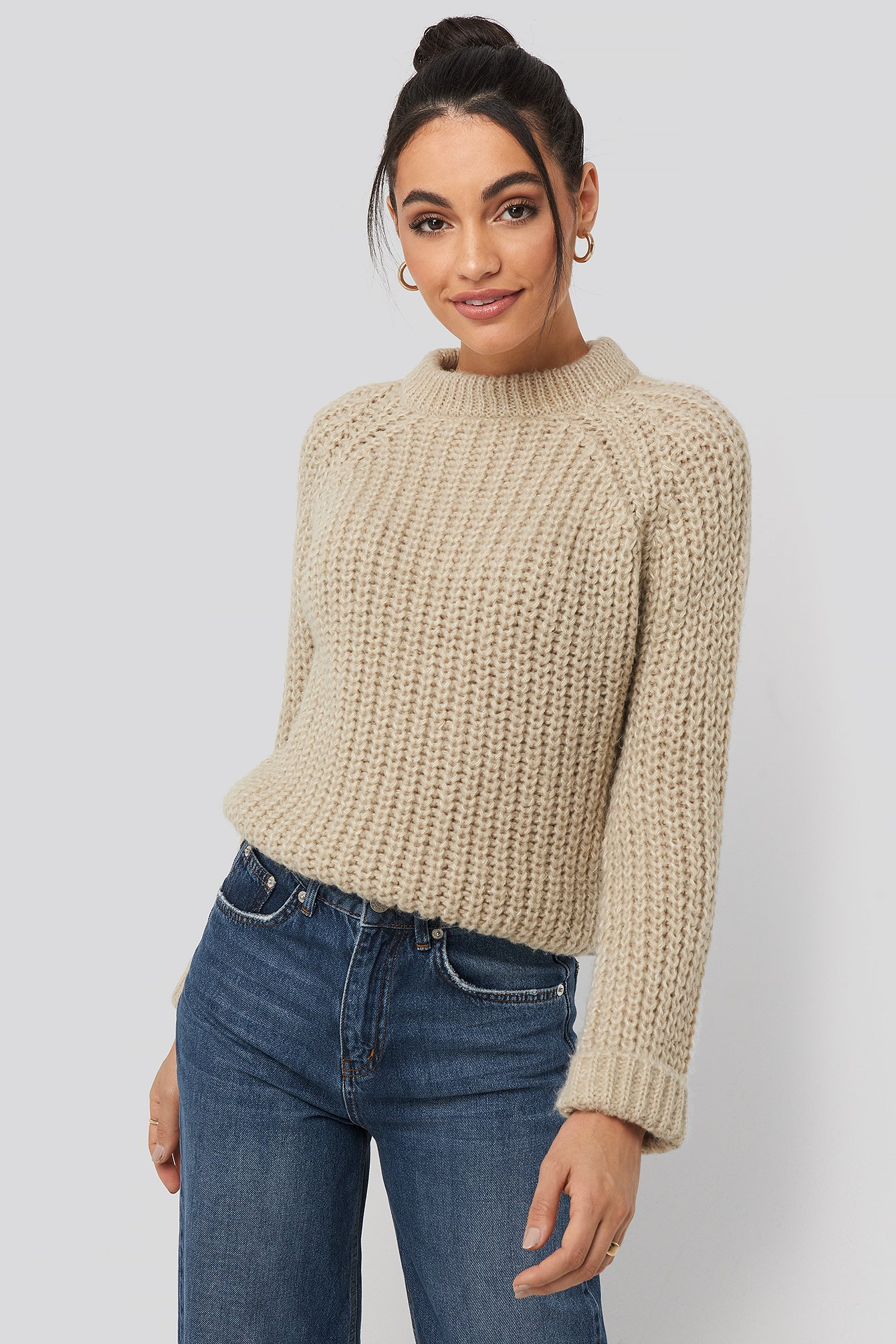 Beige Round Neck Chunky Sweater