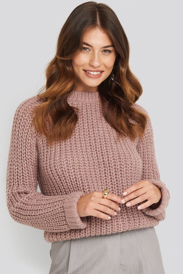 Round Neck Chunky Sweater Dusty Pink