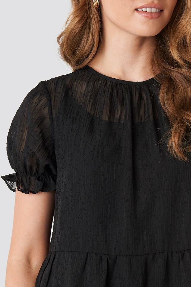 Round Neck Dobby Mini Dress Black