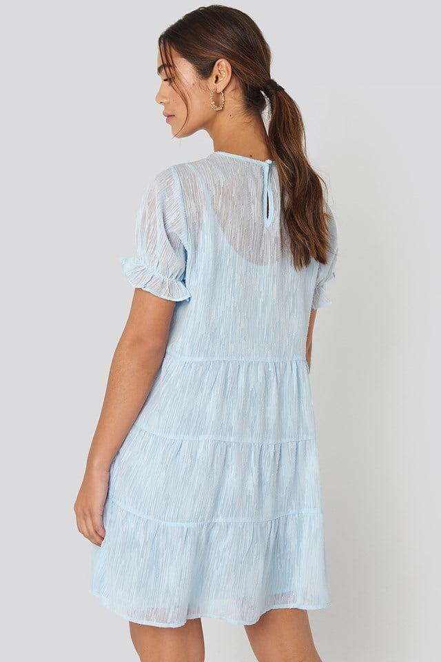 Round Neck Dobby Mini Dress Light Blue