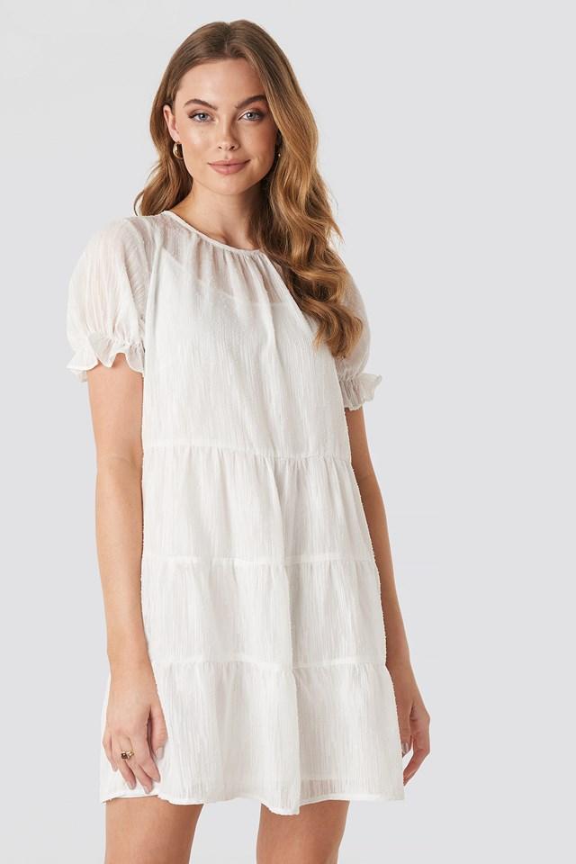Round Neck Dobby Mini Dress White
