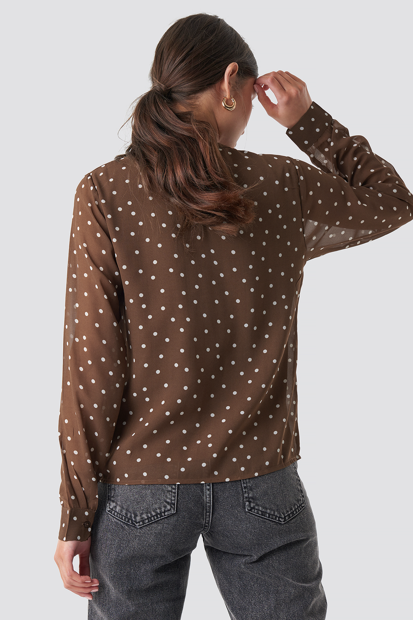 Round Neck Dotted Chiffon Top NA-KD.COM