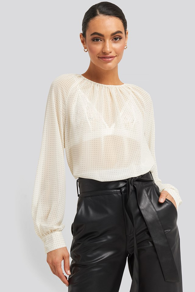 Round Neck Dotted Flowy Blouse White/Black Dot