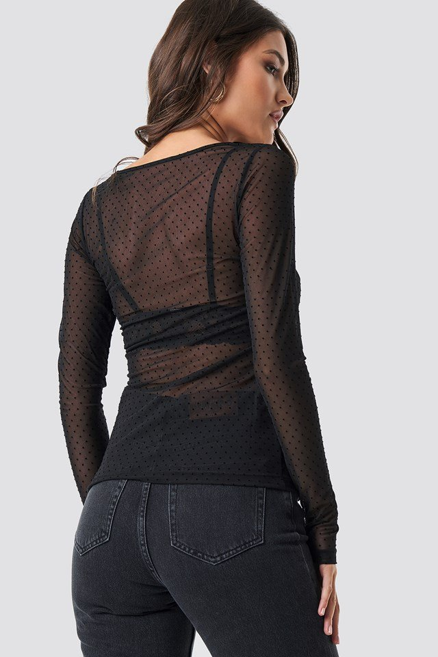 Round Neck Dotted Mesh Top Black