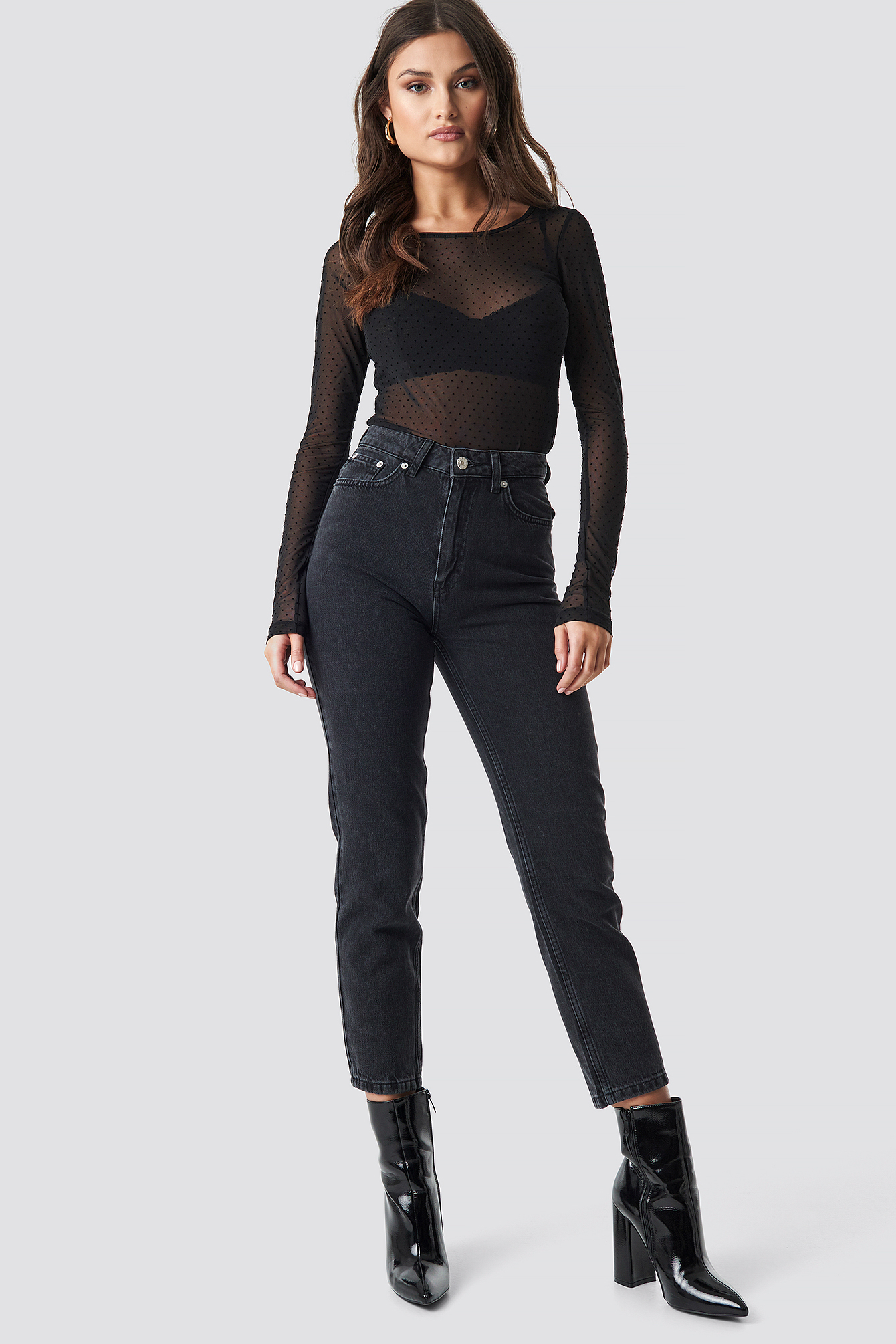 Round Neck Dotted Mesh Top NA-KD.COM