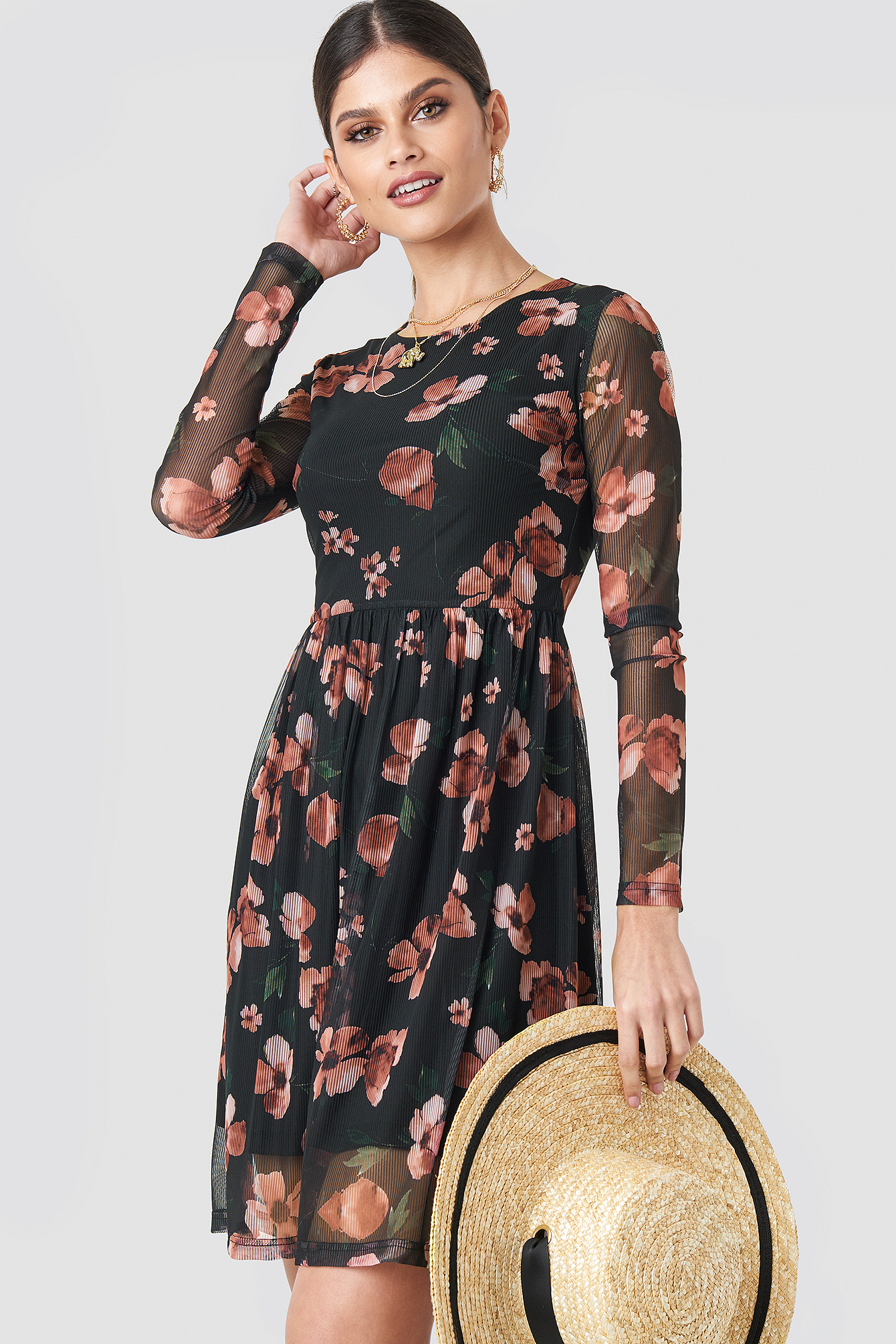 Black/Pink Flower Print Round Neck Flower Mesh Dress