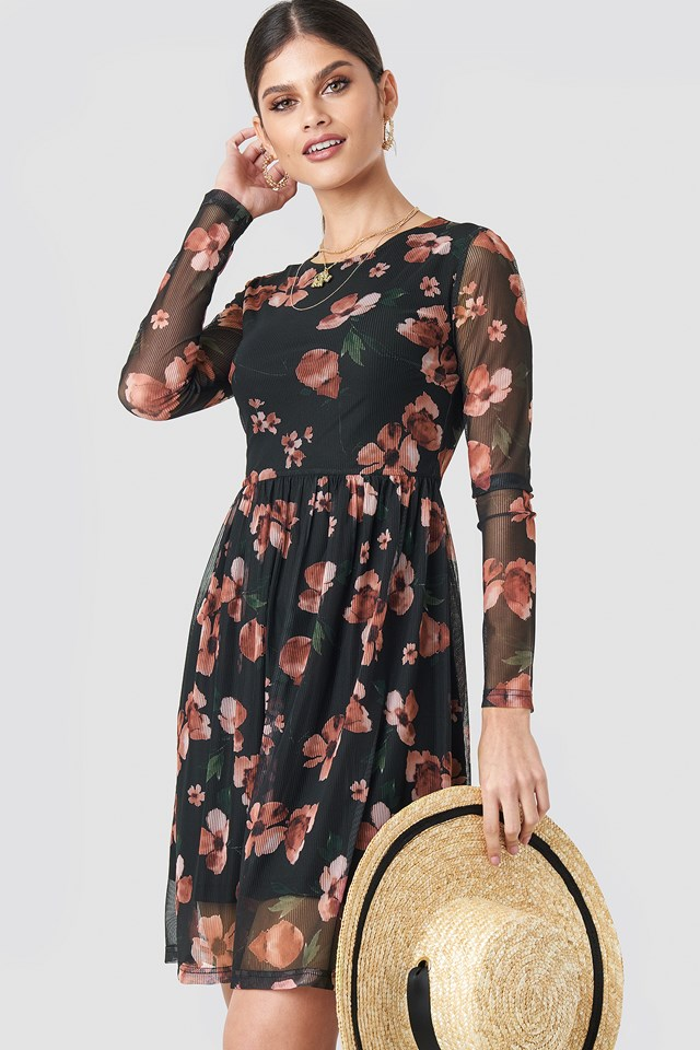Round Neck Flower Mesh Dress NA-KD.COM