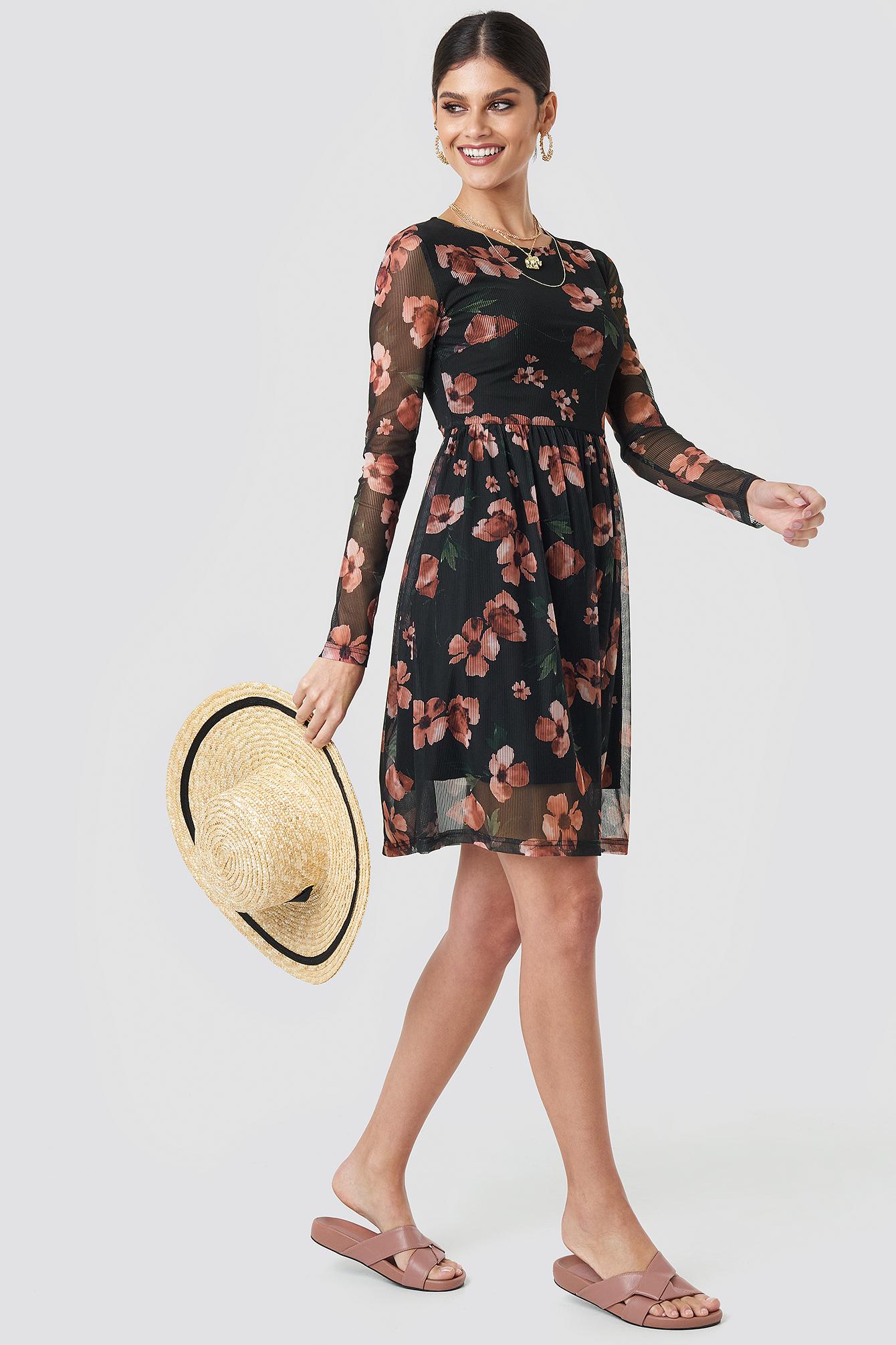 Round Neck Flower Mesh Dress NA-KD.COM