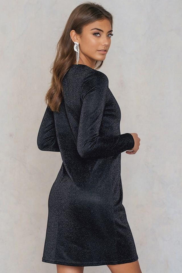 Round Neck Glittery Dress Black