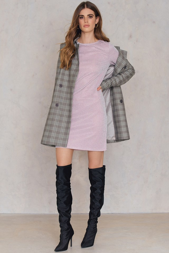 Round Neck Glittery Dress Light Pink