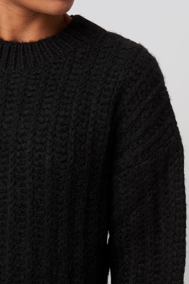 Round Neck Heavy Knit Sweater Black