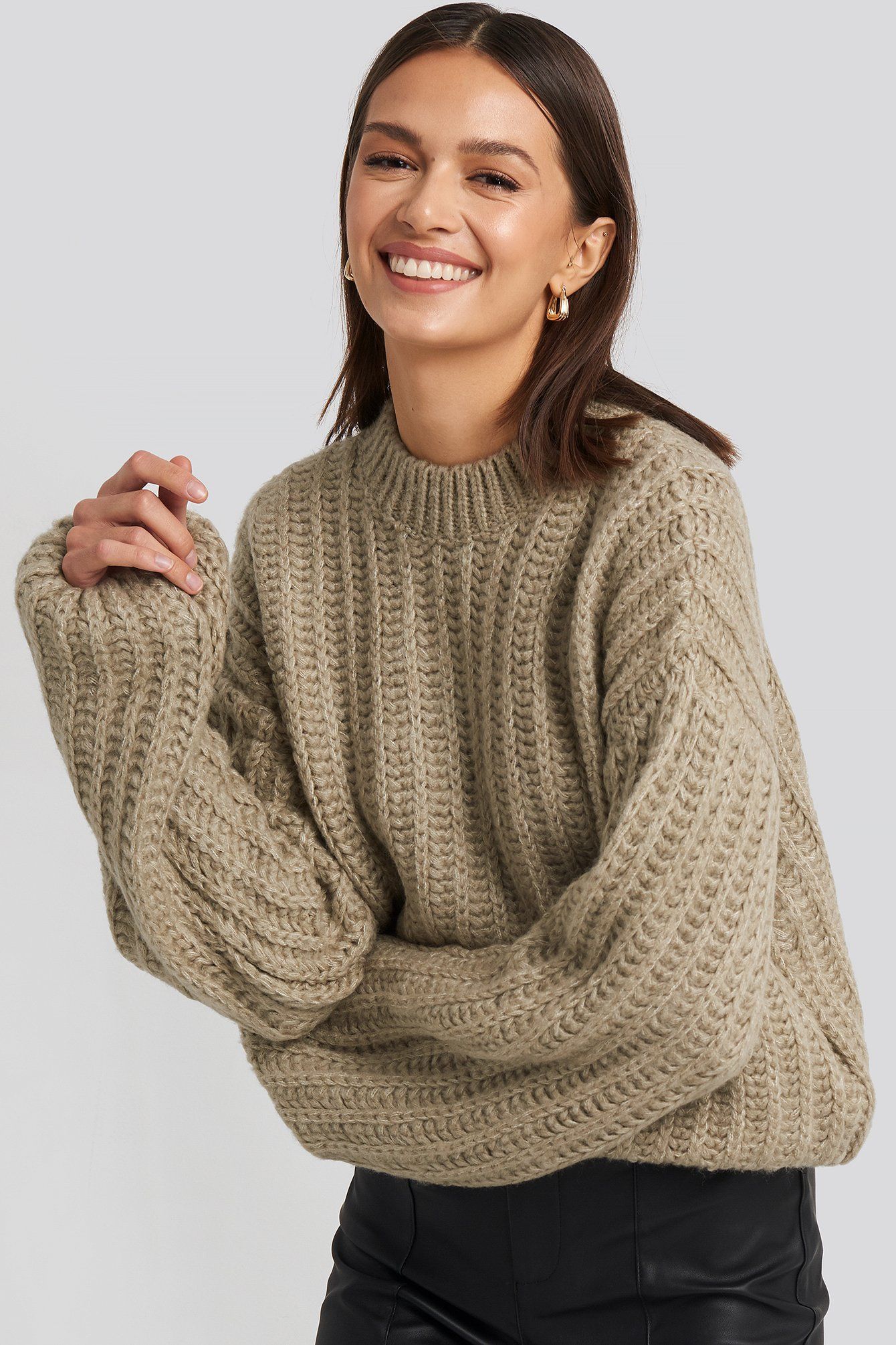 na-kd -  Round Neck Heavy Knit Sweater - Beige
