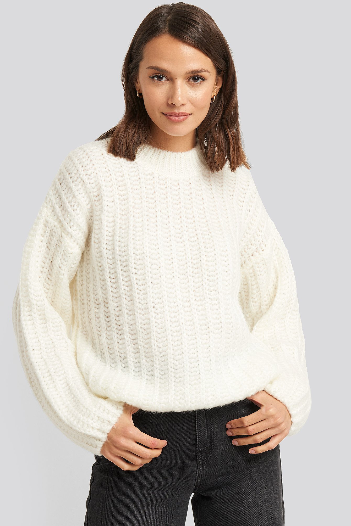 na-kd -  Round Neck Heavy Knit Sweater - White