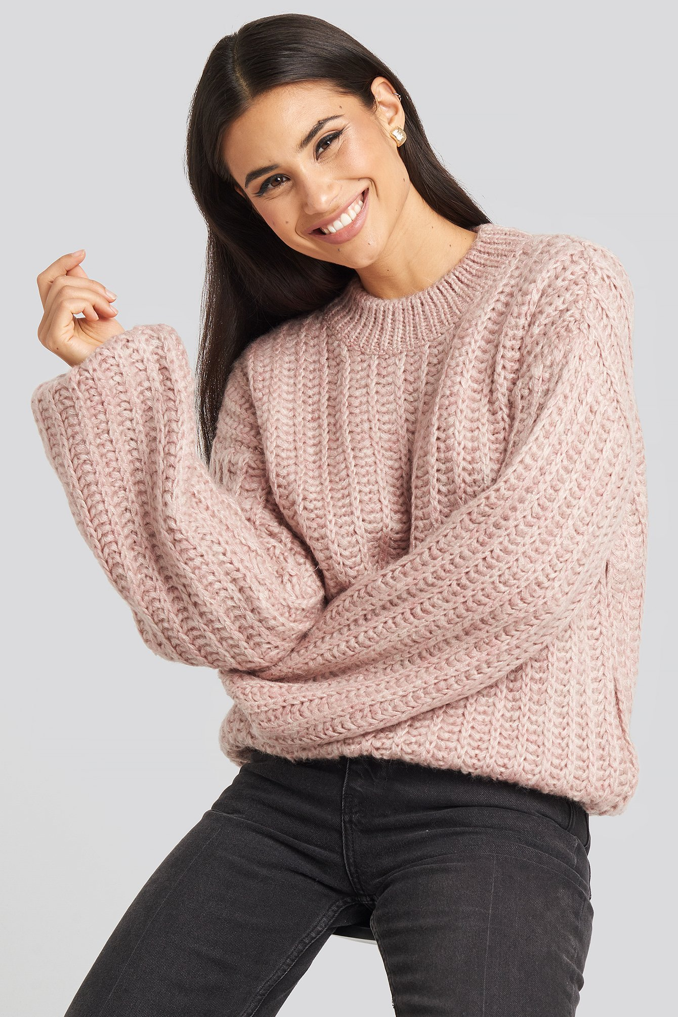 na-kd -  Round Neck Heavy Knit Sweater - Pink