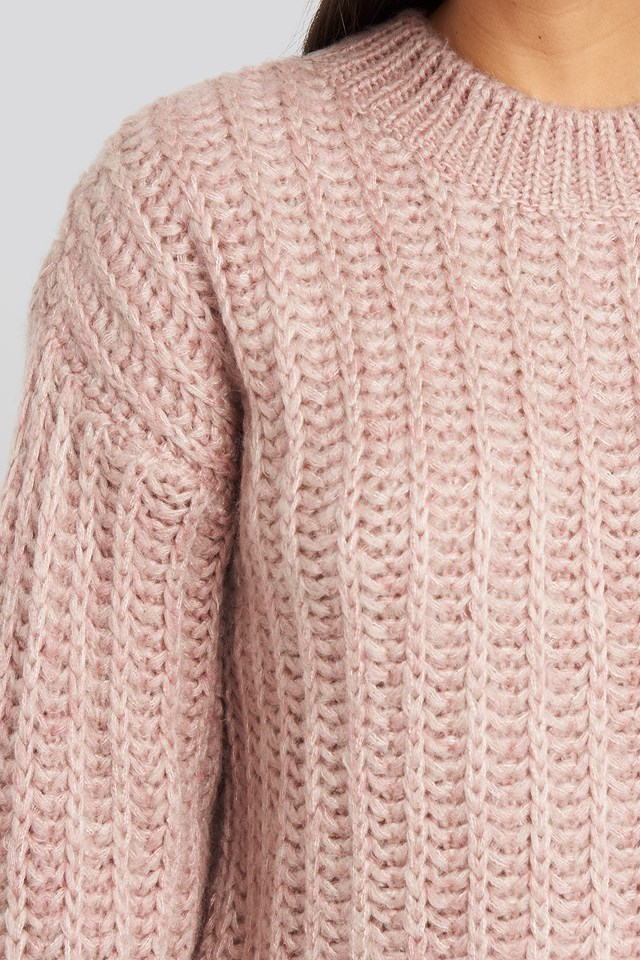Round Neck Heavy Knit Sweater Dusty Light Pink
