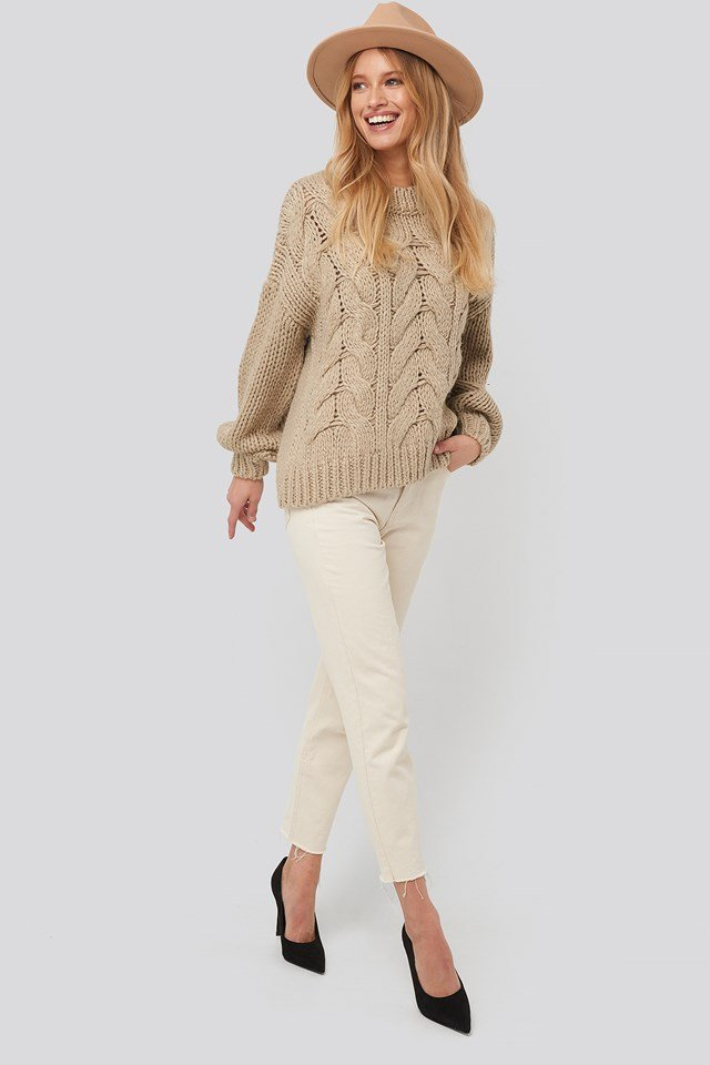 Round Neck Heavy Knitted Cable Sweater Beige
