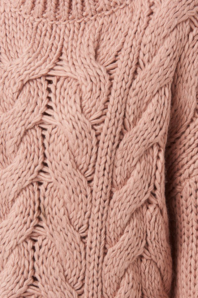 Wool Blend Round Neck Heavy Knitted Cable Sweater Misty Rose