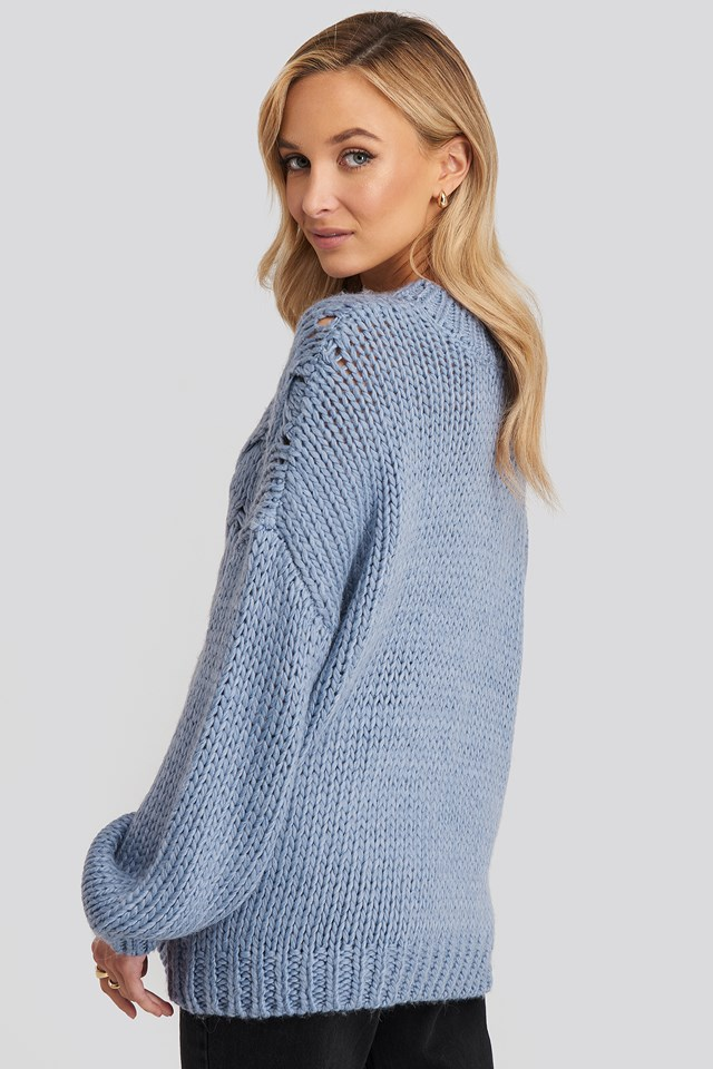 Wool Blend Round Neck Heavy Knitted Cable Sweater Stone Blue