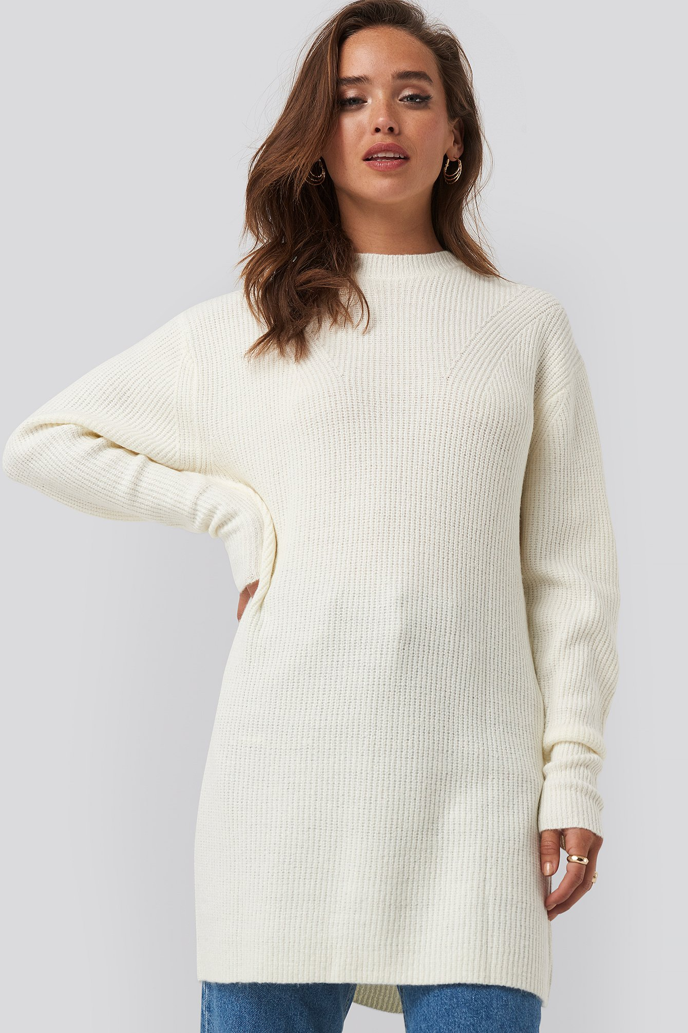 na-kd -  Round Neck Knitted Long Sweater - White