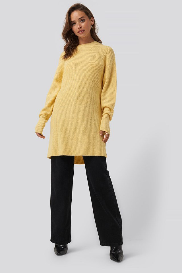 Round Neck Knitted Long Sweater Dusty Yellow