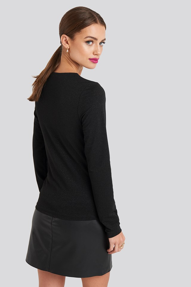 Round Neck Long Sleeve Top Black