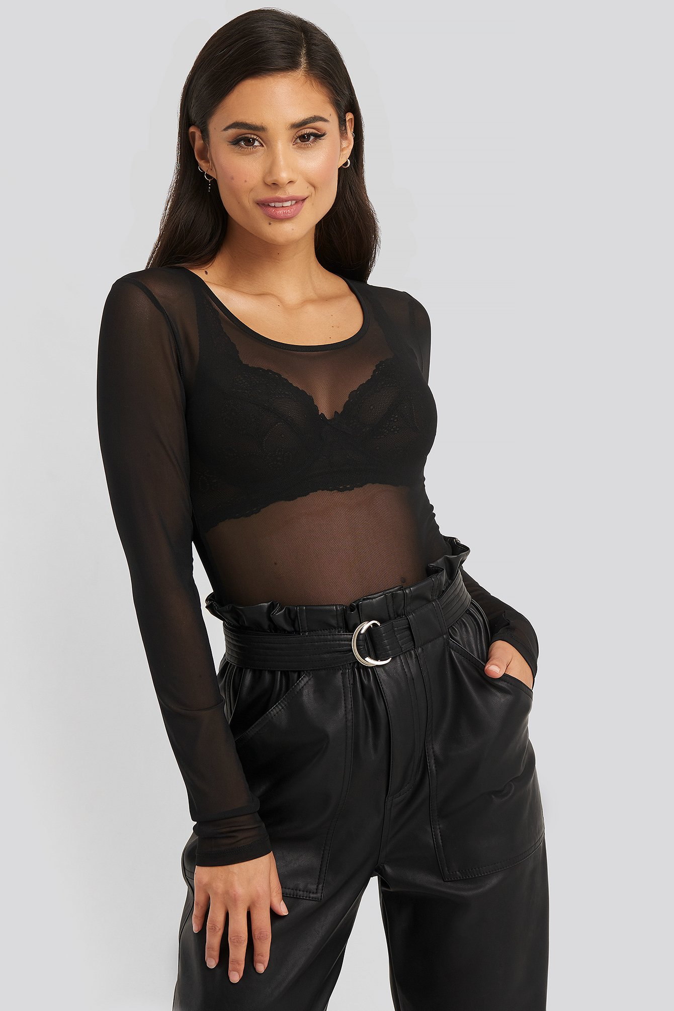 Black Deep Round Neck Mesh Top