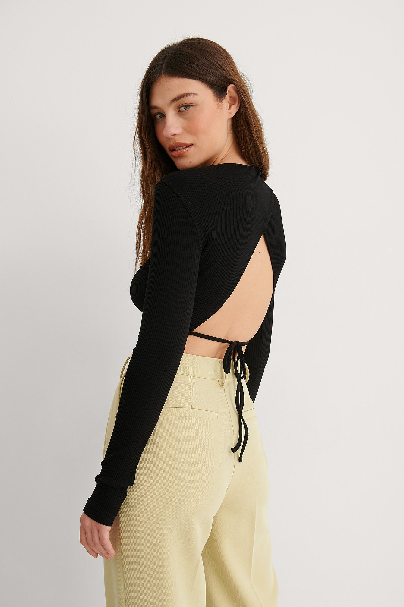 Black Round Neck Open Back Top