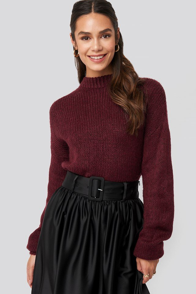 Round Neck Oversized Knitted Sweater Burgundy