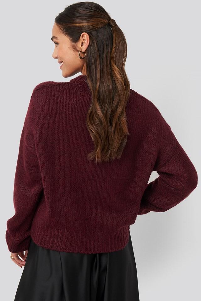 Round Neck Oversized Knitted Sweater Burgundy