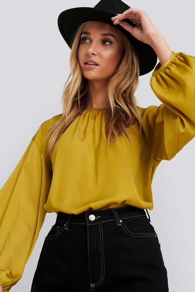 Round Neck Peasant Blouse Yellow