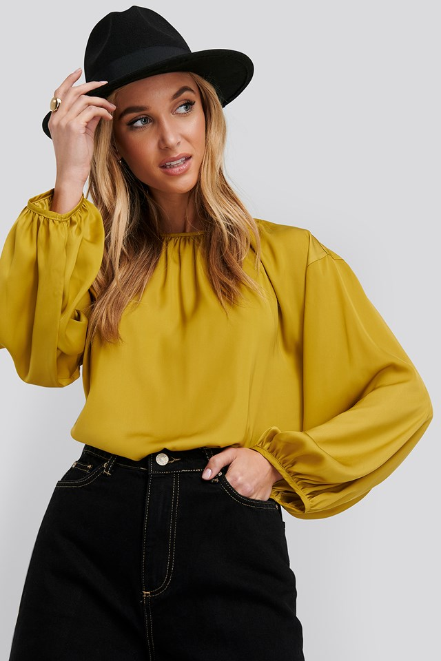 Round Neck Peasant Blouse Yellow
