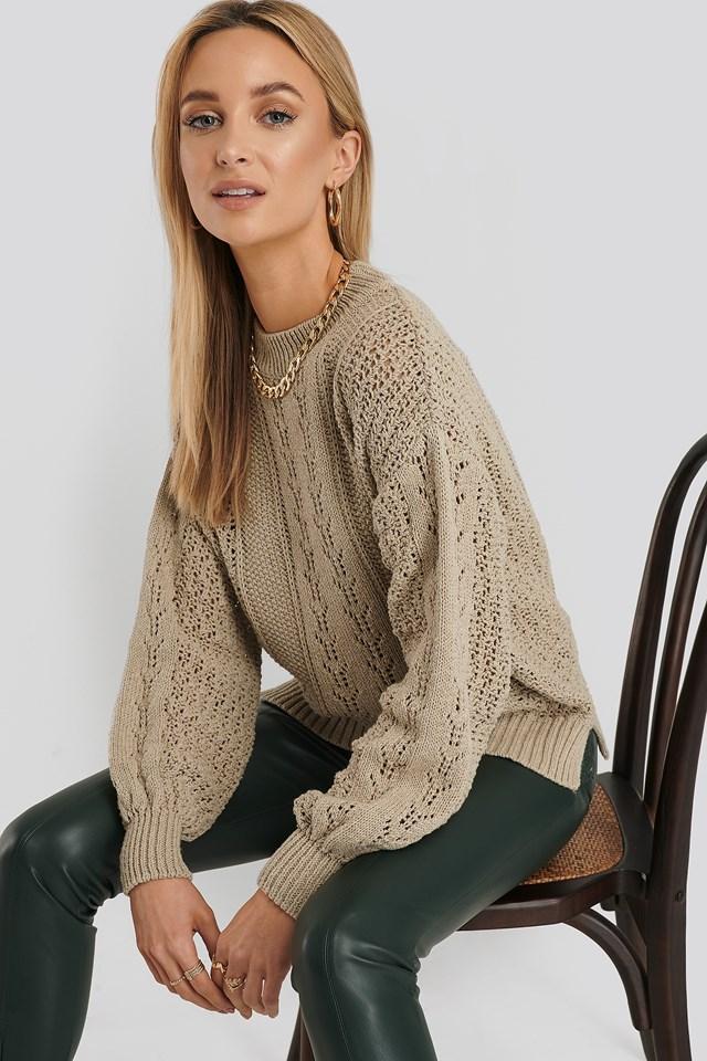 Round Neck Pointelle Sweater Beige
