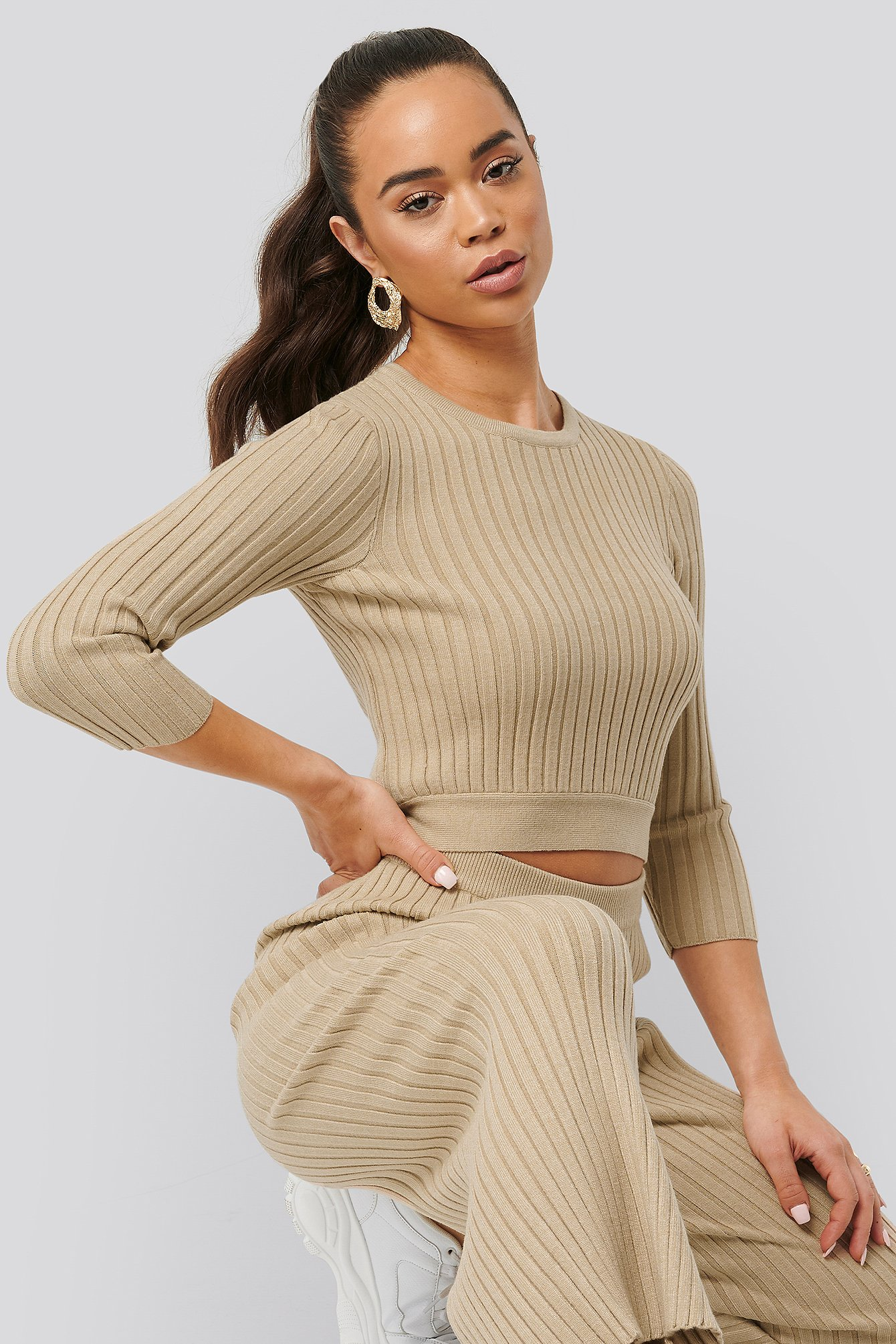NA-KD Round Neck Ribbed Knitted Sweater - Beige