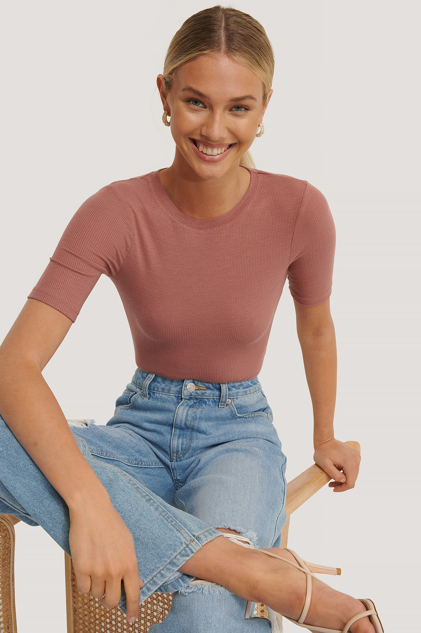 Dusty Rose Round Neck Ribbed Top