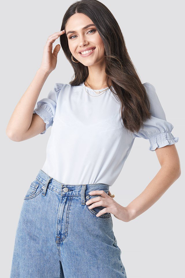 Round Neck Shirred Sleeve Top Light Blue