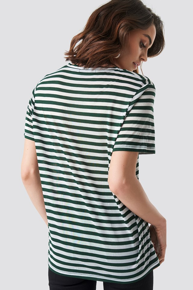 Round Neck Striped T-Shirt Green