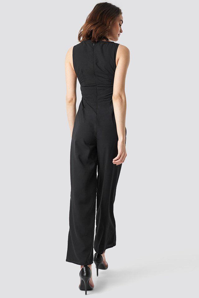 Round Neck Wide Leg Jumpsuit Black