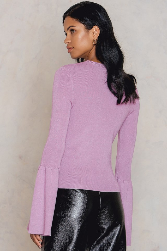 Round Neck Wide Sleeve Knitted Sweater Light Purple